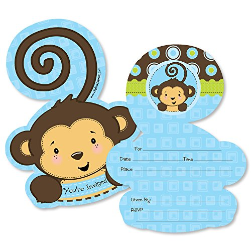 Blue Monkey Boy - Shaped Fill-in Invitations - Baby Shower or Birthday Party Invitation Cards with Envelopes - Set of 12