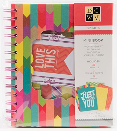 DCWV Mini Book BRIGHTS 19 Pages 38 Cutouts 2 Sticker Sheets 5-inch x 7-inch -