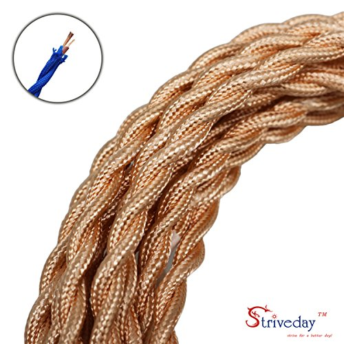 Striveday™ 5Meter/16.4FT Twisted Cloth Fabric Electrical Cord for Vintage and Antique Lamps DIY, Rayon Covered Wire For Industrial Vintage LED Bulb(Rose-gold)