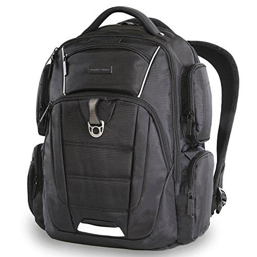 514qzkzUX5L - Perry Ellis Men's 9-Pocket Professional Laptop Backpack-P350 Business Backpack, Black, One Size