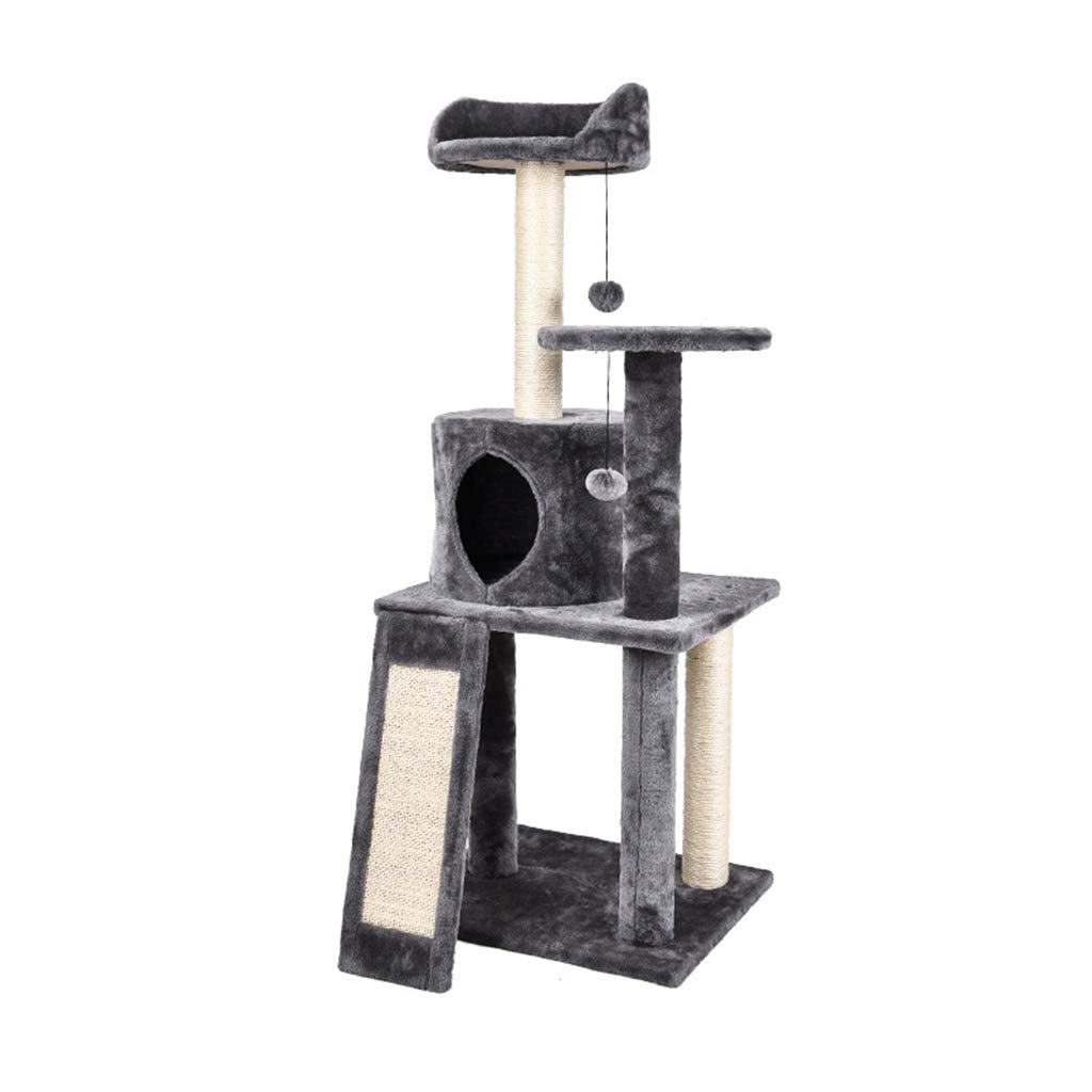 Cat Tree, Plush Sisal Cat Climbing Frame Toy Grab Board Claw Cloth for Windproof Keep Warm Big Space Firm Not Shaking