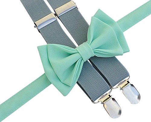 Baby Toddler Boy Men's Suspenders Bow Tie Set (Toddler (18 mo - 6 yrs), Light Grey Suspenders, Mint Bow Tie)