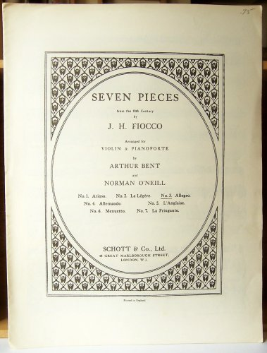 Fiocco: Seven Pieces from the 18th Century, Arranged for Violin and Pianoforte ()