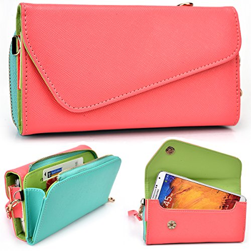 Kroo verykool sl 5009 Jet, SL5000 Quantum, SL4500 Fusion Case | Coral/Turquoise Universal Crossbody Clutch & Wristlet [Lovely Color Schemes]