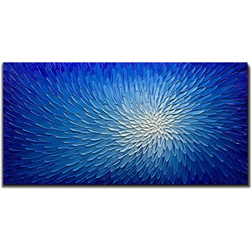 (Amei Art Paintings,24X48 inch Oil Hand Painting Flower Paintings 3D Hand-Painted On Canvas Abstract Artwork Art Wood Inside Framed Hanging Wall Decoration Abstract Painting (Bright)