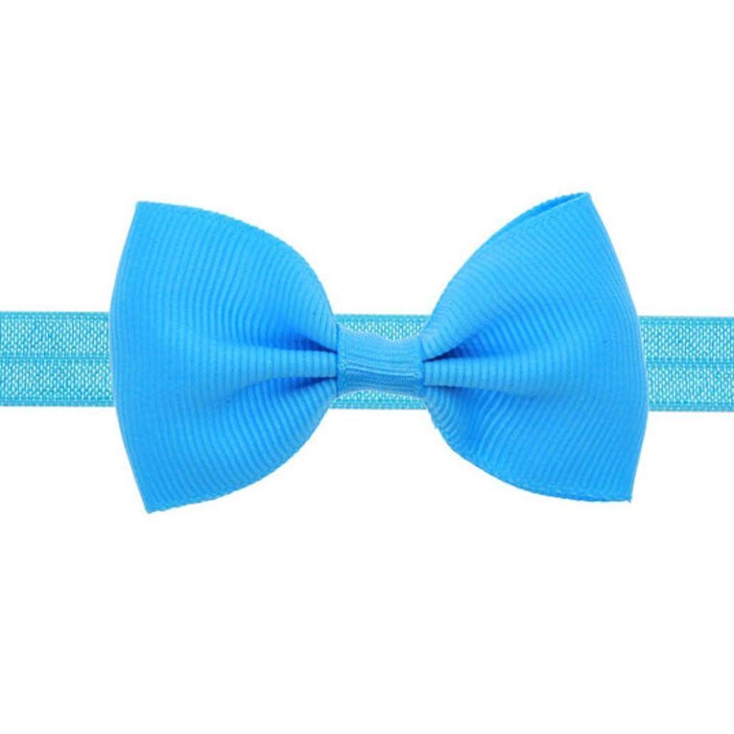 sunnymi Baby Child Girl Mini Bow Hair Band Elastic Head with A Variety of Essence Style New and Nice Design Bright Color (Navy)