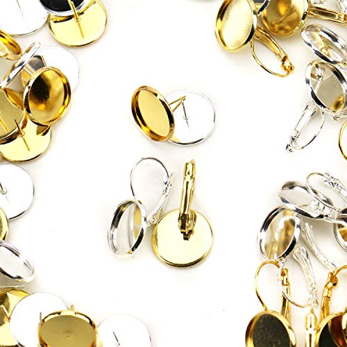 JETEHO 40pcs Brass Stud Earring Cabochon Setting Post&Lever Back Hoop Earring with Dome Glass Cabochon for DIY Jewelry Making Tray: 14mm(Gold&Silver) ()