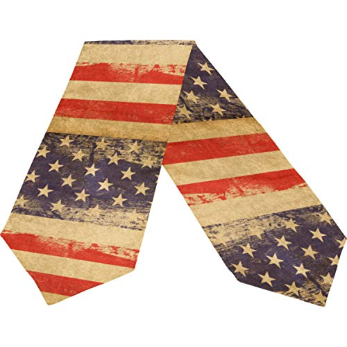Wamika Vintage American Flag Memorial Independence Day Long Table Runner Cloth 13x70 Inch, 4Th Of July Memorial Day Retro Star Stripe Eagle Table Runner Placemat for Kitchen Dining Home Decor Gift