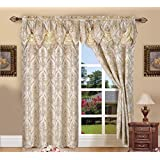 Elegant Comfort Penelopie Jacquard Look Curtain Panel Set with Attached Waterfall Valance, Set of 2, 54x84 Inches, Beige