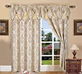 Penelopie Jacquard Look Curtain Panel Set with Attached Waterfall Valance, Set of 2 54x84 Inches Beige