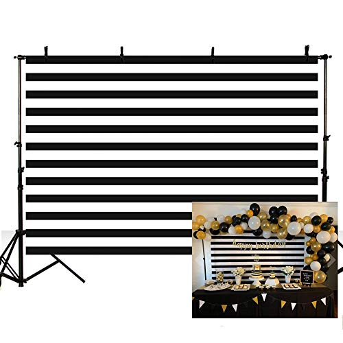 - MEHOFOTO Black and White Stripes Photography Backdrop Props Happy Birthday Party Decorations Banner Photo Studio Booth Background 7x5ft