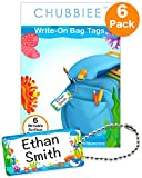 Child ID Bag Tags, Write-On Kids Name Tags for Backpack, Lunchbox & Diaper Bag, Great for Preschool & Daycare, Pack of 6 (Blue Ocean)
