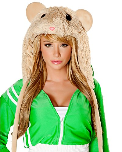 J. Valentine Women's Hamster Hood Shaggy Cuddle Plastic Eyes and Nose, Tan, One Size