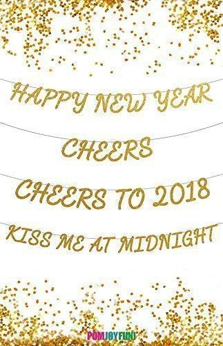 - New Years Eve Banners, Happy New Year, Cheers, Cheers to 2018, Kiss Me At Midnight, Party Decor