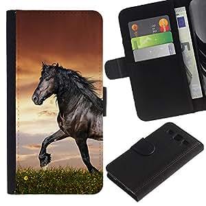 JackGot ( Hermoso Caballo Negro ) Samsung Galaxy S3 III i9300 i747 la tarjeta de Crédito Slots PU Funda de cuero Monedero caso cubierta de piel