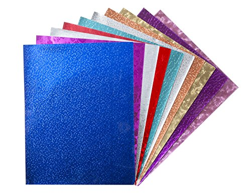 Hygloss Products Embossed Metallic Foil Paper Sheets - Assorted Colors And Designs - 8.5 x 10 Inch, 30 Pack ()