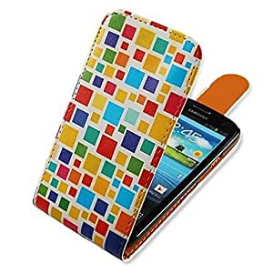 WEV Square Matching Up-down Turn Over PU Leather Full Body Case for Samsung Galaxy S3 I9300