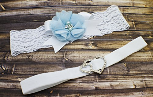 Wedding Bridal Lace Garter Set, Velvet Toss Garter, Baby Blue Flower Garter by G Squared Designs