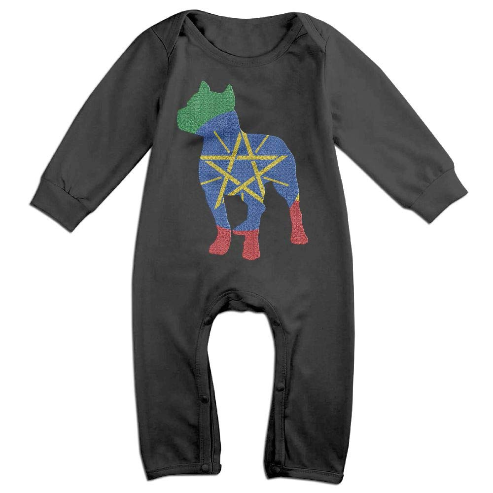 Mri-le1 Baby Boy Long Sleeve Jumpsuit Patriotic Pitbull Ethiopia Flag Baby Rompers