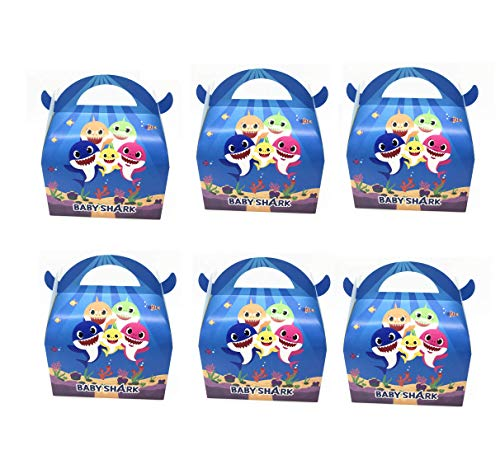 Astra Gourmet Baby Shark Party Favor Boxes - Baby Shark Birthday Baby Shower Party Treat Candy Boxes - Set of 24