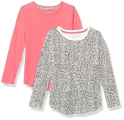 Amazon Essentials Girls' 2-Pack Long-Sleeve Tees