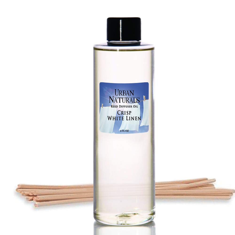 Urban Naturals Crisp White Linen Scented Oil Reed Diffuser Refill | Free Set of Reed Sticks! A Fresh, Clean Cotton Scent, 4 oz by Urban Naturals (Image #1)