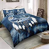 3D Digital Printing Vintage Bohemia Moon Dream Catcher Howling Wolf King Wolves Snow Mountain Bedding Set 100% Microfiber Wolf US Queen
