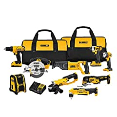 "The DEWALT DCK940D2 20V MAX Lithium Ion 9-Tool Combo Kit contains all the tools you need for any/all projects! The DCD771 20V MAX* Lithium Ion 1/2"" Compact Drill Driver delivers 300 unit watts out (UWO) of power ability completing a wide rang..."