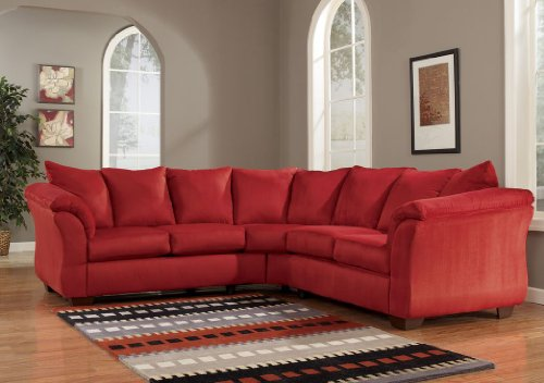 Microfiber Set Red Sofa (Red Upholstery Fabric Sectional by Ashley Furniture)