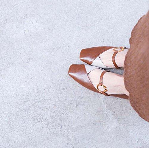 Mujer de Sueltos Punta Zapatos Zapatos Bombas Cuadrada Zapatos Tac de de acP1nWI