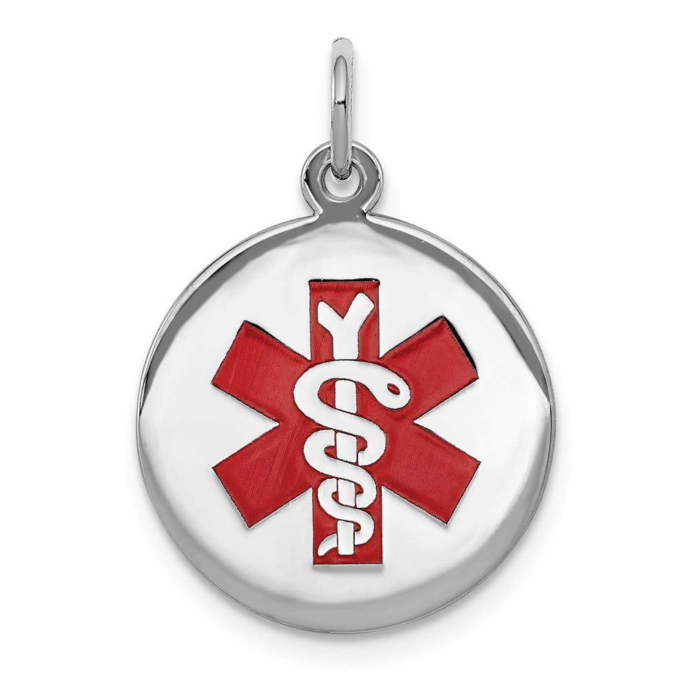 Sterling Silver Medical Jewelry Pendant 16 mm 18.7 mm Red Pendants /& Charms Jewelry
