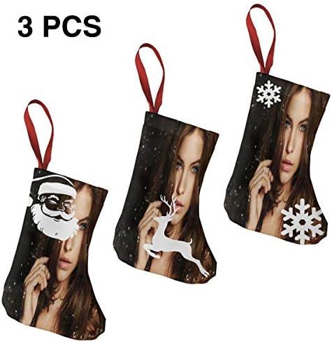 クリスマスの日の靴下 (ソックス3個)クリスマスデコレーションソックス Barbara Palvin クリスマス、ハロウィン 家庭用、ショッピングモール用、お祝いの雰囲気を加える 人気を高める、販売、プロモーション、年次式
