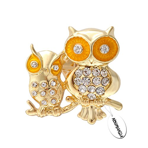 Owlet Baby Costume (NOUMANDA Dainty Crystal Owl Mom and Owlet Baby Animal Collar Pin Brooch (gold))