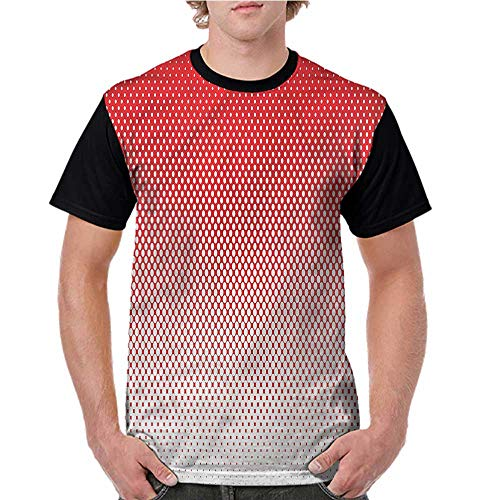 Women Print Tees,Red,Retro Pointillism Ombre Art S-XXL Custom T-Shirt Fashion Style