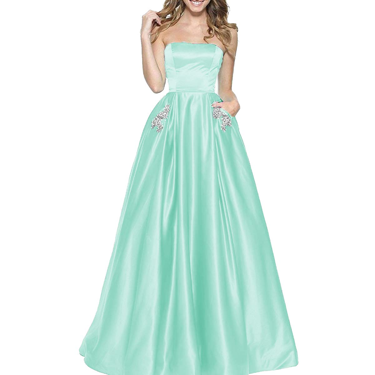 Mint TTYbridal Women's ALine Strapless Beaded Prom Dresses Long Satin Homecoming Party Gown with Pockets