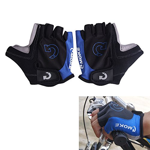 Cycling Gloves Bicycle Motorcycle Sport Gel Half Finger Gloves : Blue : Size XL