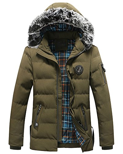 Outwear Verde Giacche Spessore Inverno Parka Maschile Cappotto Esercito Cappuccio Con nYqZ8x7Y
