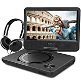 WONNIE 9.5 Inch Portable DVD Player Swivel Screen, USB / SD Slot 4 Hours Rechargeable Battery, Kids ( Black )