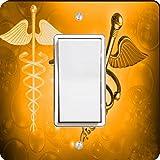 Rikki Knight 8867 Single Rocker Orange Medical Doctor Symbol Design Light Switch Plate