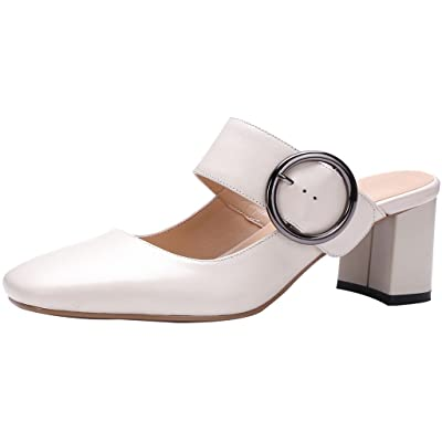 Calaier Womens Cawriter Closed-Toe 5.5CM Block Heel Slip-on Mule Shoes