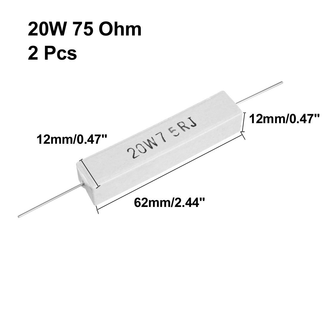 uxcell 20W 2 Ohm Power Resistor Ceramic Cement Resistor Axial Lead White 2pcs