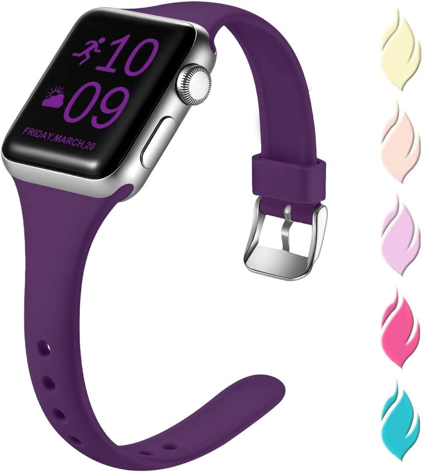 Henva Slim Band Compatible with Apple Watch SE 40mm 38mm, Soft Comfortable Band Compatible for iWatch Series 6 5 4 3 2 1, Plum, M/L