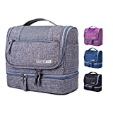 Tramean Travel Toiletry Bag,Waterproof Makeup Kit Cosmetic Organizer for Men Women Girls 2-layer Hanging Bathroom Shower Dopp Kit(Gray)