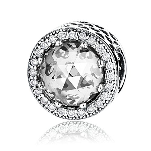 Radiant Hearts With Clear Crystal And Clear CZ 925 Sterling Silver Bead Fits Pandora Charm (Fits Pandora Charm Bracelet)