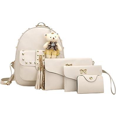 c988fd0e6417 HCFKJ 4 Pcs Bags Set Women Girl Bear Animals Tassel Backpack School Bag  Chain Shoulder Bag