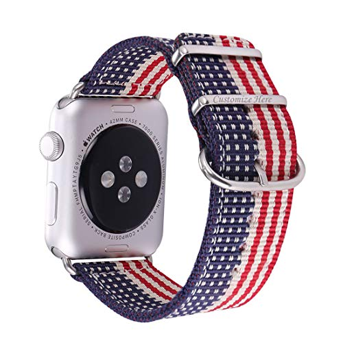 (Bandmax Nylon Band Compatible Apple Watch 38MM/40MM,Engraving Available American Flag Fabrics Replacement Strap Accessories Compatible iWatch Series4/3/2/1 Stainless Steel Buckle(The Stars&Stripes))