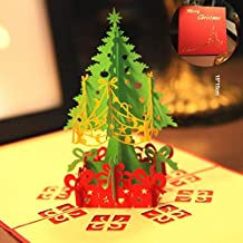 Kongqiabona 3D Christmas Tree Card Papercraft Pop Up Greeting Cards Christmas Greeting Holiday Card for Christmas Decoration