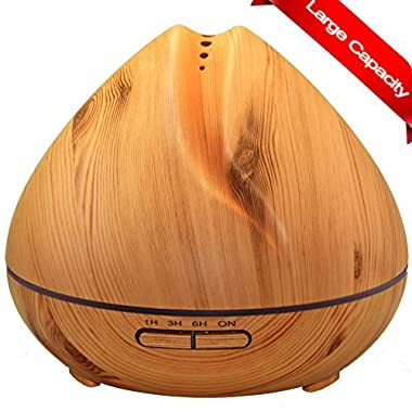 Essential Oil Diffuser 400ml, Wood Grain, natural shape, Ultrasonic Aroma Humidifier, Cool MIst Automatic shutdown and 4 settings timer, 7 colors LED light for home office yoga spa