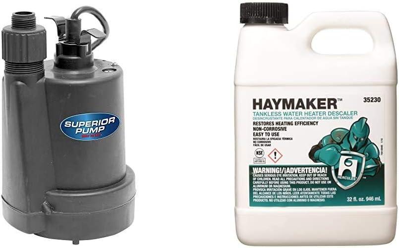 Superior Pump 91250 Utility Pump, 1/4 HP, Black & Hercules 35230 HAYMAKER DESCALER PRODUCT, 32 oz