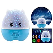 Itian Multi-Function Mini Pig Shape Rotating Projection Sky Star Master USB LED Projector Night Light Kids Bedroom Bed Light for Christmas Light with Speaker (Blue)